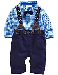 kingko® Pantalons Bébés garçons Ensembles Plaid T-shirt Salopette Top Total Tenues