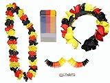 Fußball-Fan Set Deutschland: Schminkstift, Blütenkette, Wimpern, Haarreifen, 1er Pack (1 x 5 Stück)