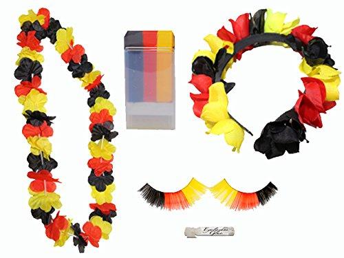 tschland: Schminkstift, Blütenkette, Wimpern, Haarreifen, 1er Pack (1 x 4 Stück) ()