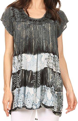 Sakkas S-4-85100 - Layleka Long Tie Dye Ombre Batik Besticktes Sequin Beaded Shirt Bluse Top - Schwarz - OS (Tie-dye-langer Rock)