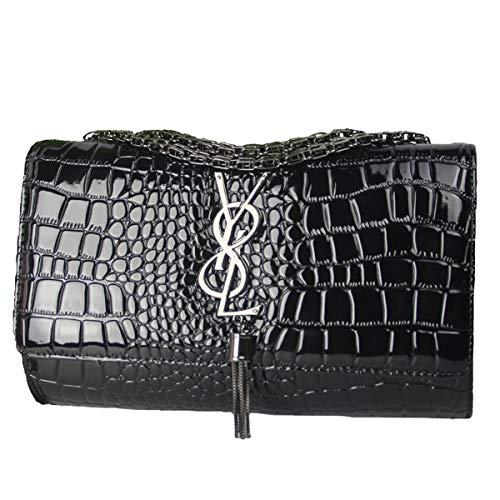 SHRJJ 2018 Mädchen Mode Eine Schulter Crossbody Kette Python muster Kleine Tasche Großer Raum Baby-Wickeltasche Für Frauen (26 * 7 * 17CM, Schwarz 2(Y8L Logo-Leder)) -