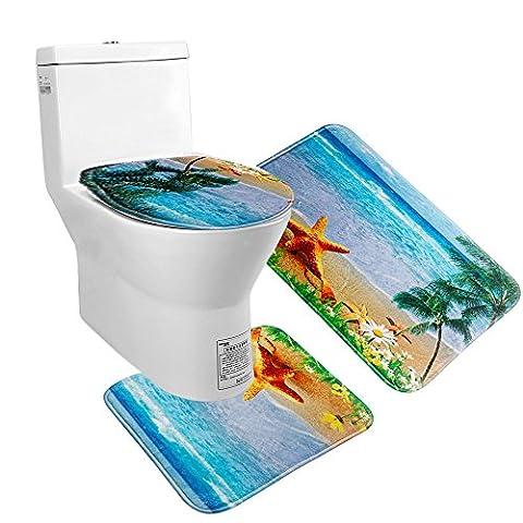 Uomere Ensemble de tapis de salle de bain Ensemble de sièges Coussin de flanelle antidérapant (Tapis de bain + Tapis de coussin + Cadre de coque) 3 pièces (Étoiles de mer)