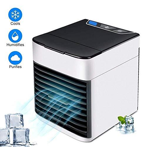 YLJYJ Tragbare Klimaanlage Luftkühler,Mini Luftkühler Mobile Klimageräte,Luftbefeuchter&Luftreiniger Ventilator mit USB Anschluß 3 Stufen und 7 Farben LED Geeignet für kleine Umgebungen
