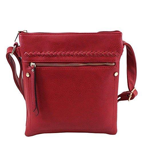NEU vordere Reißverschlusstasche Kunstleder Damen Freizeit Umhängetasche Handtasche - Rot, Small Rot