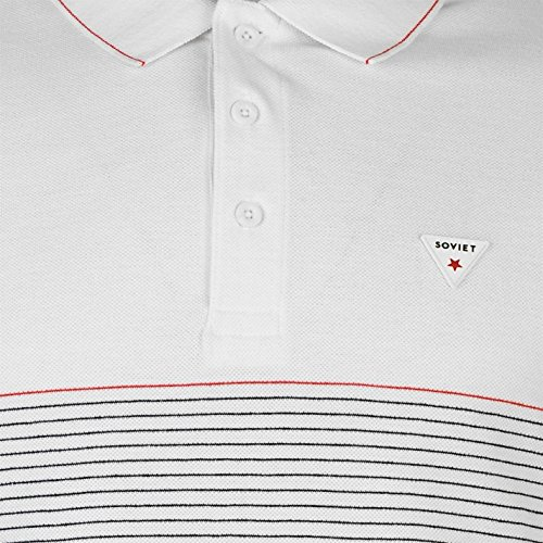 Soviet Herren Gestreift Polo Shirt Kurzarm Polohemd Baumwolle Logo Badge Weiß
