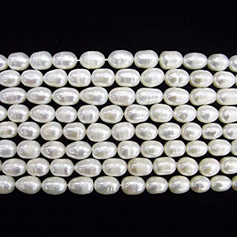 TheTasteJewelry 8-9mm Rice White Freshwater Cultured Pearl Beads 15 inches 38cm Jewelry Making Necklace