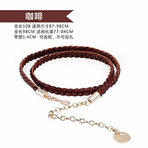Cinturón de cuero chica vestido fino decorar la cintura cadena cuerda tejer  cinturón Marrón 98cm b9915943e4ce
