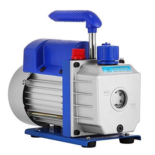 HODOY Pompa per vuoto refrigerante 3CFM 1 / 3HP Pompa per vuoto per vuoto monostadio HVAC 85 L/min Pompa a vuoto per vuoto rotativa A/C Pompa per vuoto di evacuazione (3CFM 1 / 3HP)