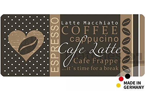 matches21 Küchenläufer Teppichläufer Teppich Läufer Coffee Kaffee Cafe 50x120x0,4 cm maschinenwaschbar rutschfest Küchenvorleger