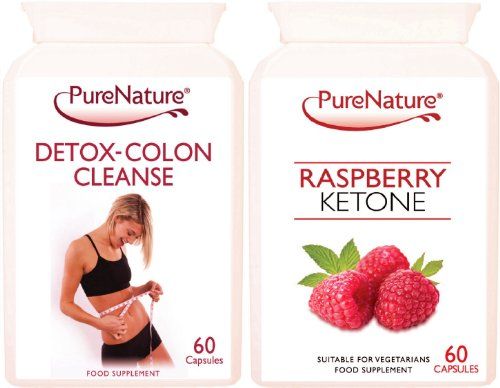 Pure Raspberry Ketone and Detox-Colon Cleanse Combo to Support Weight Loss & Slimming 2 x 60 Capsules Made in the UK Suitable for Vegetarians. FREE UK Delivery Test