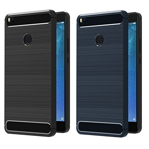 iVoler [2 Unidades] Funda para Xiaomi Mi MAX 2, Diseño de Fibra de Carbon Ultra Fina TPU Silicona Carcasa Fundas Protectora con Shock- Absorción (Negro+Azul)