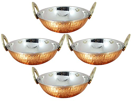 Zap Impex Indian Serving Bowl Copper Stainless Steel Hammered Karahi Indian Dishes and Serving Pieces Curry # 1(3cm) Set of 4