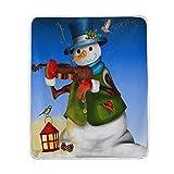 Use7 Wohndekoration, Weihnachten, Hipster-Schneemann mit Violine, Musik, Vogel-Decke, weich, warm, für Bett, Couch Sofa, leicht, für Reisen, Camping, 127 cm x 152,4 cm, Überwurfgröße für Kinder, Jungen und Frauen
