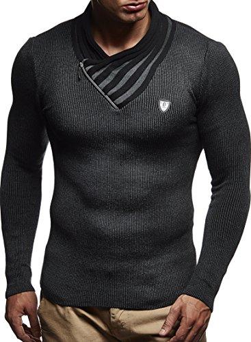 LEIF NELSON Herren Pullover Strickpullover Hoodie Basic Schalkragen Crew Neck Sweatshirt langarm Sweater Feinstrick LN1425; Gr_¤e M, Anthrazit-Schwarz
