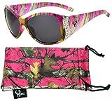 Hornz Pink Camouflage polarisierten Sonnenbrillen für Damen Strass Akzente & freie passende Beutel aus Mikrofaser – Heiß Rosa Camo Rahmen - Rauch- Objektiv