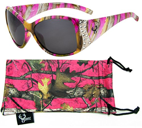 Hornz Pink Camouflage polarisierten Sonnenbrillen für Damen Strass Akzente & freie passende Beutel aus Mikrofaser - Heiß Rosa Camo Rahmen - Rauch- Objektiv