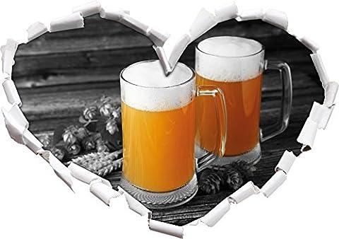 Deux verres de bière Hefeweizen avec hop sur le noir en forme de coeur de la table en bois / blanc dans le regard 3D, mur ou un autocollant de porte Format: 62x43.5cm, Stickers muraux, Stickers muraux, Décoration murale