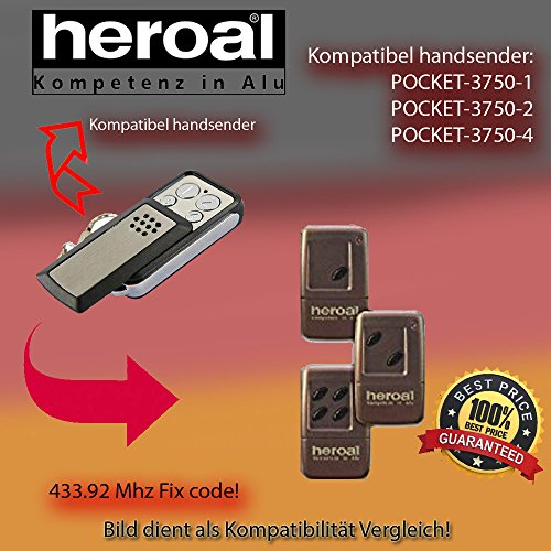 Handsender 433.92 MHz für HEROAL POCKET - 3750-1 , 3750-2 , 3750-4 Antriebe (2-pocket-taste)