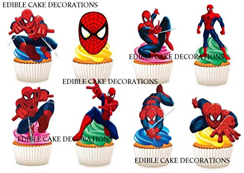 Ediblecakedecorations Kuchendekoration, Spiderman-Party, essbar, 30 Stück (Dekorationen Geburtstag Spiderman)