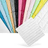 KINLO 3D Wandpaneele wasserfest Selbstklebend Ziegelstein Ziegel Tapete Muster Tapete Steinoptik Wallpaper Anti-Kollision für Kinder weich Dekoration 70cm*77cm*0.9cm, (10pcs,Weiß)