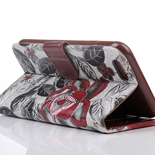 BELK 11,9cm 14cm Premium belles filles ¡votre tissu Support Téléphone étui portefeuille à rabat avec emplacements pour cartes pour iPhone 6(11,9cm) iPhone 6Plus Design Fleurs pour f