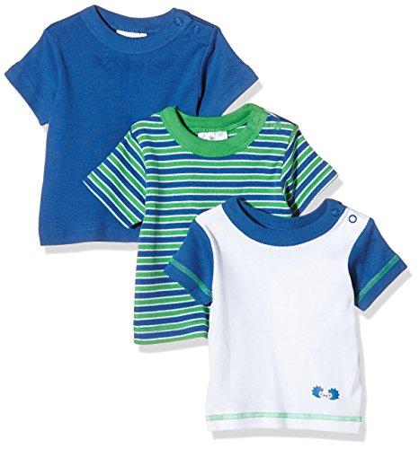 Twins Baby-Jungen T-Shirt, 3er Pack , Mehrfarbig (Weiss/Marine 810012), 56