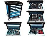 Servante d'atelier chariot à outils Boîte à outils + Outils 220pièces