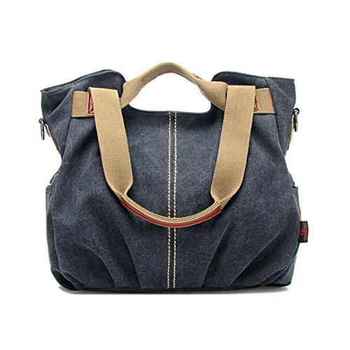 La haute da donna casual tela borsa fashion Daily Hobo borsetta borsa a tracolla borsa per la spesa resistente, Blue (blu) - LHTE-11 Black