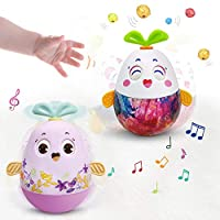 VATOS Baby Toy, 2 In 1 Roly-Poly Tumbler Toy Rabbits Built-in Music Box And Bell Early Education Weeble Wobble Toys For Babies And Toddlers 6 Months 1 Year Old And Up