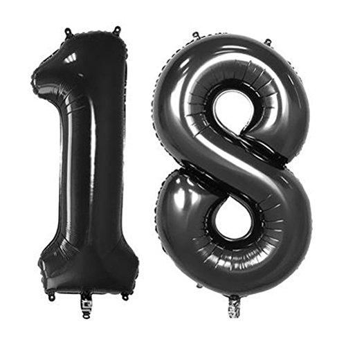NUOLUX Folienballon Zahlen Luftballon 18. Buchstabe Ballons Romantische Party Geburtstag Jahrestag Dekoration 40 Zoll (Schwarz)