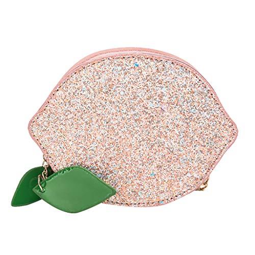 Damen Umhängetasche Shoulder Bag Handtasche Schultertasche Satchel handbag, Shining Patent Leather Lemon Round Bag Kette Schulter Taschen -