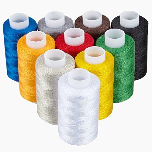 KLAGENA Qualitätsgarn aus 100% Polyester, 10-teilig, verschiedene Farben - Nähgarn / Nähmaschinengarn / Nähset / Syngarn - mit 2 Jahren Geld-zurück-Garantie