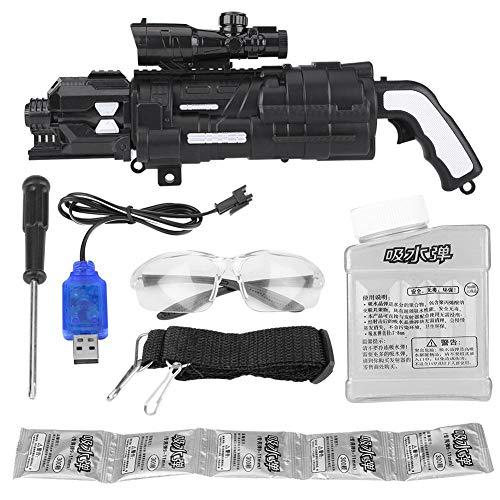 Semme Elektrisches Wasserpistole-Spielzeug, Wasser-Pistolen-im Freienschießen-Spiel weiches Kristallbombe-elektrisches Wasser-Gewehr-Spielzeug mit Batterie 6V 700mAh (Schwarz)