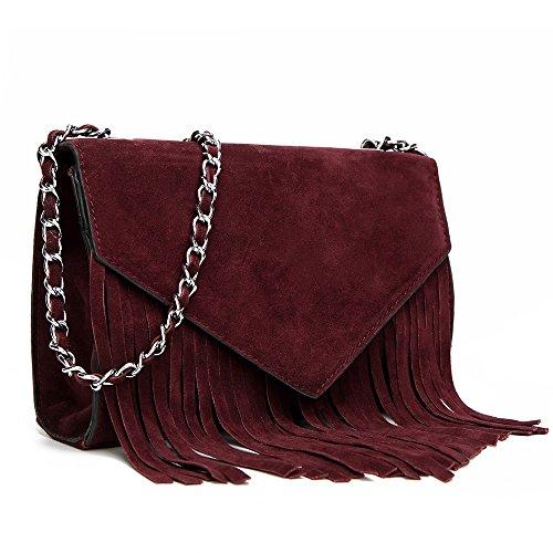 HB Style - Borse a spalla Ragazza donna Burgundy