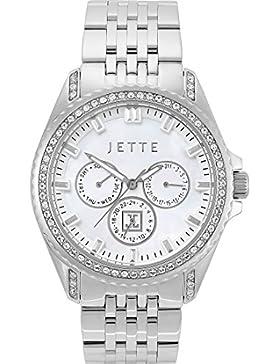 JETTE Time Damen-Armbanduhr Existence Edelstahl mit Swarovski-Kristall Analog Quarz One Size, perlmutt, silber