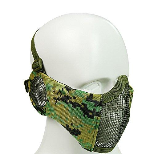 XUE Airsoft Faltbare Halbe Maske Mesh Gesichtsmaske Mundschutz mit Gehörschutz Taktische Paintball Schutz Masken Camo für Softair Jagd Halloween (8 Farbe) -
