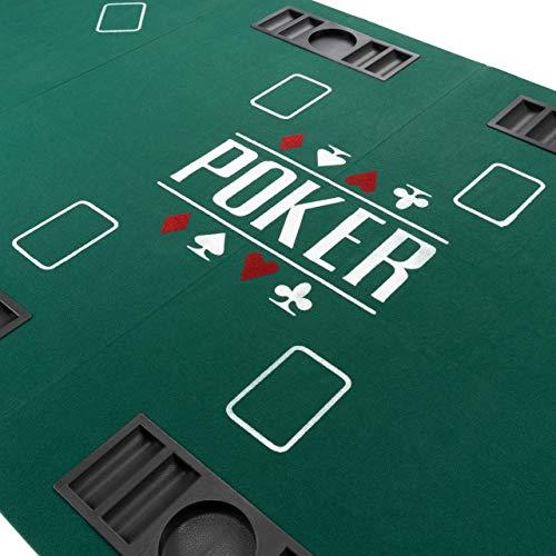 Faltbare Tischauflage Casino Pokertisch Pokerauflage Holzverstärkt klappbar 180 x 90 cm Chiptray Getränkehalter Black Jack Texas Holdem - 2