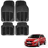 #1: Vheelocityin Maruti Suzuki Swift New Car Mat Black / Black rubber Foot Mat For Maruti Suzuki Swift New