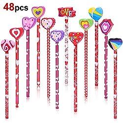 Howaf Set 48 DE San Valentín Madera Grafito lápices con Gomas de borrar de Corazón Formas para niñas niños Regalo Bolsas de Fiesta cumpleaños Premios Escolares