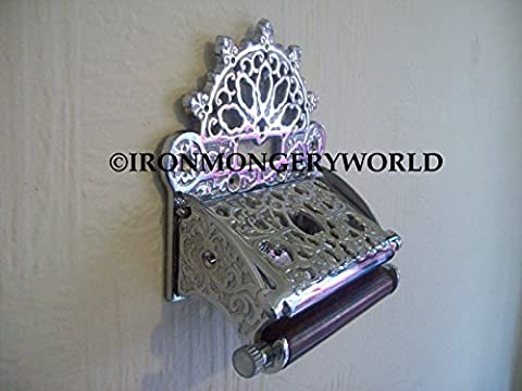 IRONMONGERY WORLD® Solid brass vintage Ornate Antique victorian old style Toilet Roll Holder (POLISHED CHROME/SILVER)