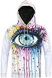 Pizoff Unisex Hip Hop Sweatshirts druck Kapuzenpullover mit Farbkleks 3D Digital Print bunt augen Y1760-02-S