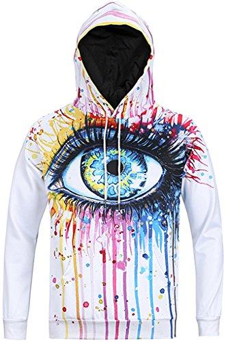 Pizoff Unisex Hip Hop Sweatshirts druck Kapuzenpullover mit Bunt 3D Digital Print Y1760-02