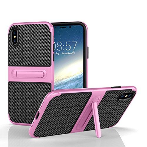 iPhone X Coque lifeepro TPU + PC hybride slim Housse résistante aux chocs Étui Couverture avec fonction de support pour iPhone X Rosé Rosé