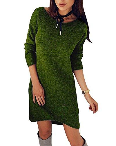Minetom Damen Pullover Kleider Winterkleider Kleid Strickkleider Langarm Mode Stricksweat Strickpullover Lose Sweatkleid Minikleid Grün DE 42