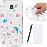 Lotuslnn Coque Samsung Galaxy A3 2016 Silicone avec Une fleur conception - Samsung galaxy A3 2016 Housse Etui en rose blanc Transparent