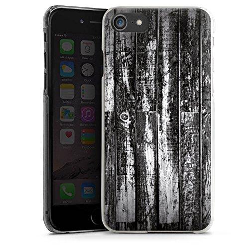 Apple iPhone X Silikon Hülle Case Schutzhülle Holz Holzboden schwarz weiß Planken Look Hard Case transparent