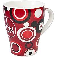 benu Tasse Porzellantasse Retro, Rot-Weiß-Schwarz, 46146