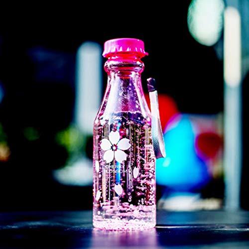 Bigherdez Unzerbrechliche Sportreisen Wasserflasche tragbare auslaufsichere Radfahren Camping Wasser Tasse 550ml Soda Flasche mit Lanyard - Pink