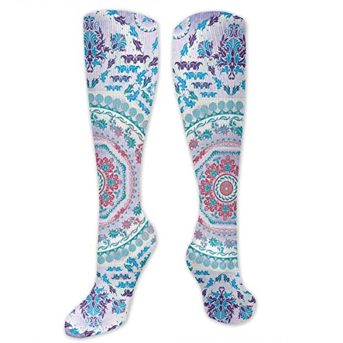Juzijiang Personalized Compression Socks,Medallion Design Floral Patterns And Leaves Boho Hippie Style Prints,Best Medical,for Running,Hiking,Varicose Veins,Circulation & Recovery Medallion-boot