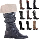 Ladies Flat Winter Biker Style Low Heel Wide Calf High Leg Knee Boots Size
